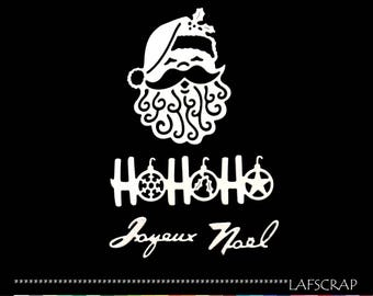 scrapbooking head Santa Claus Word Holly leaf cutouts Merry Christmas die cut scrap Scrapbook embellishment