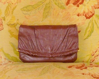 70s vintage dark red leather clutch purse/small leather clutch/oxblood leather handbag
