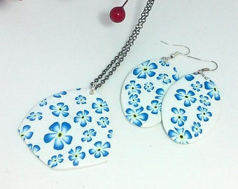 Handmade polymer clay millefiori forget-me-not jewelry set including pendant and earrings