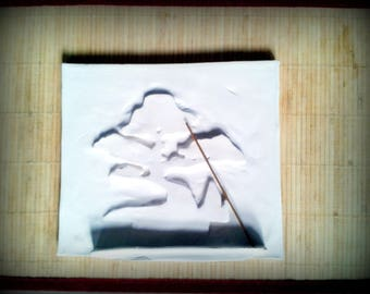 Japanese painting 3D with holder for incense to decorate