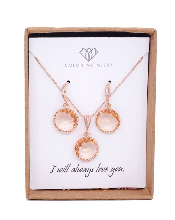 Rose Gold Champagne Glass drop Rose Gold FILLED Necklace - pearl, gifts for her, round, Wedding Bridesmaid bridal shower gifts weddings