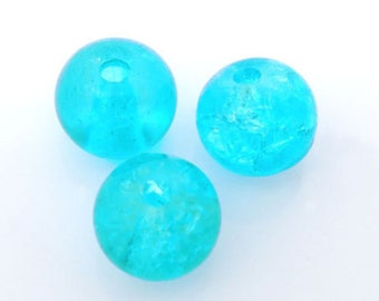 x 10 crackled ball 6 mm blue glass beads