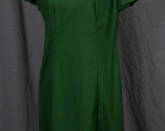 Cute 1960s/1970s Vintage Green A-line Dress with Decorative Collar Detail