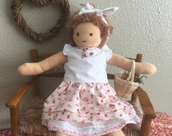 Flowers and Polka Dots Cotton dress for 12 Inch Waldorf Doll