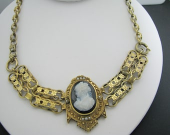 c100 Beautiful Unique Antique Cameo 9k Yellow Gold Convertible Necklace
