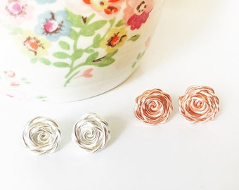 Bridesmaid Earrings, Rose Earring Studs, Rose Earrings, Bridal Stud Earrings, Bridesmaid Gift, Wedding Jewellery, Romantic Gift, Bride to Be