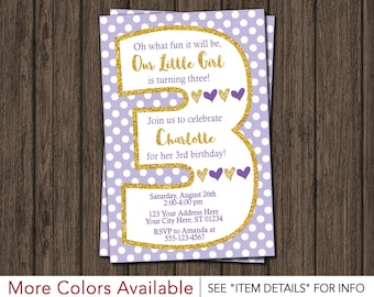 Purple and Gold 3rd Birthday Invitation | Lavender and Gold Third Birthday Invitations | Polka Dots | Age 3 | Personalized and Printable