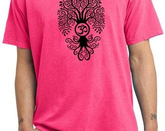 Yoga Clothing For You Mens Shirt Black Bodhi Tree Pigment Dyed Tee T-Shirt = PC099-BBODHI
