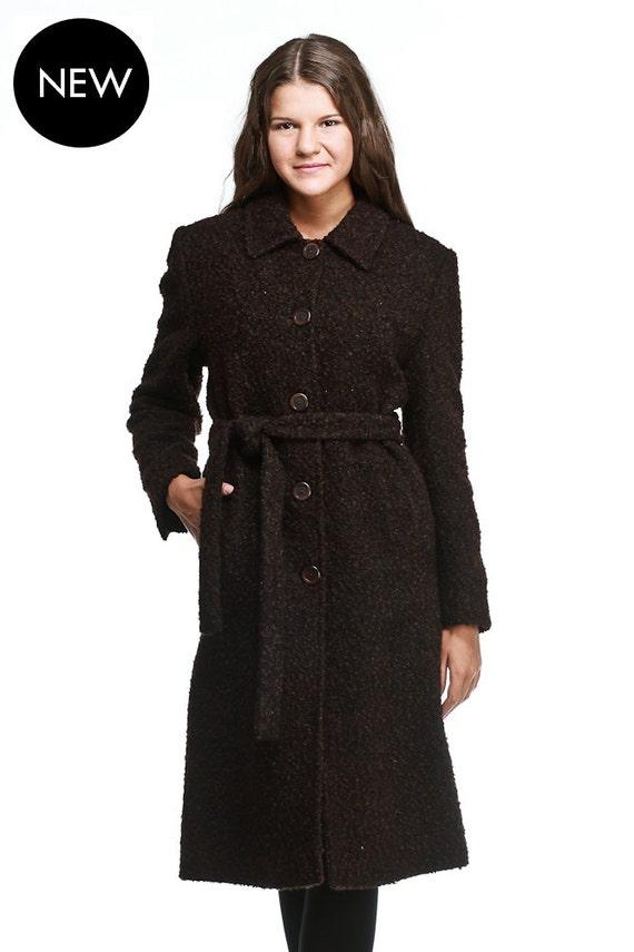 Elegant long brown boucle wool coat / womens winter coat / womens long coat  / Straight line wool coat / Black / Brown / Cream / Camel / Grey