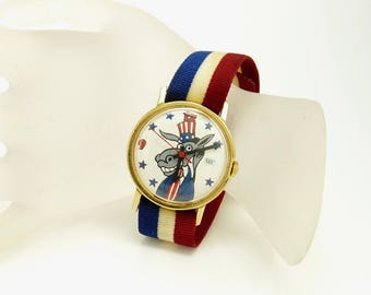Vintage 70s Democratic Donkey Character Wrist Watch Timex Political Watch