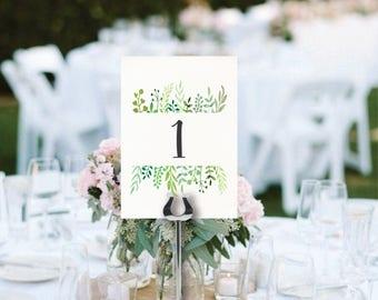 wedding table numbers printable leafy greenery garden floral green wedding wreath wedding decor instant download digital table numbers diy