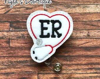 ER Badge Reel, ER Nurse Badge Reel, Stethoscope Badge Reel, Nurse Badge Reel, Retractable Badge Reel, ID Badge Holder, Feltie Badge Reel