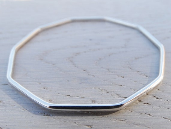 Silver Decagon Bangle, Geometric Bracelet, Sterling Silver