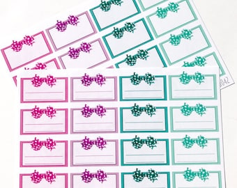 DB042--JEWEL TONE Gingham Bow Half Box Planning Stickers for the Erin Condren ECLP or Happy Planner