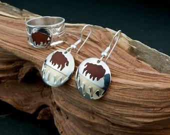 Standing Buffalo Silver Earrings Only