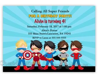 Super Heroes Birthday Invitation (Digital File)