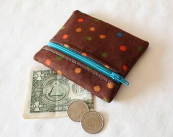 Coin Purse, Zipper Pouch, Change Purse, change pouch, wallet, chocolate, brown, polka dots, dots, rainbow