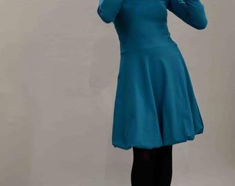 Cotton dress, petrol dress, balloon dress, hoodie dress, sweater dress, skater dress, turquoise balloon dress, cotton dress petrol, hooded dress