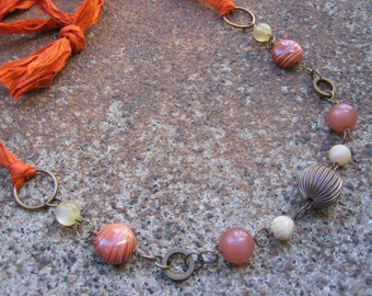 Eco-Friendly Silk Ribbon Statement Necklace - Spice Market - Orange Ribbon from Recycled Saris, Vintage Beads in Brass, Tan & Terra Cotta