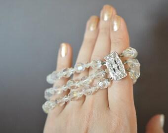Vintage Crystal Triple-Strand Bracelet