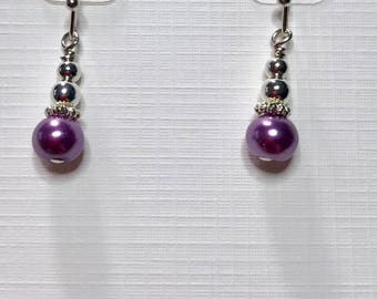 Petite dangle Swarovski Lavender earrings