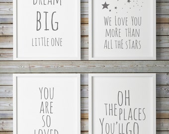 Nursery Quote, Gray Nursery Decor, Dream Big, Nursery Stars, Printable Nursery Wall Art, Kids Poster, Gender Neutral,Oh The Places You'll Go