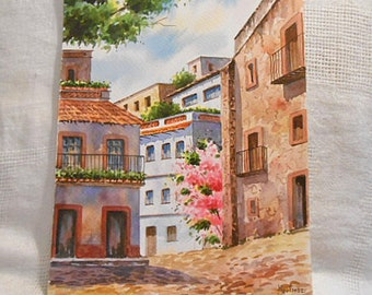 Peaceful CITY STREET Watercolor SCENE Pink Bougainvillea Flowers, Stucco Villas Tile Roofs Balconies, Cobblestones Spain Signed 13 x 10