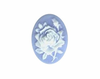 18x13mm Blue & White Rose Flower Resin Cameo embellishment bauble 582q