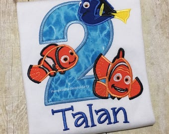 Fish Birthday Shirt/Nemo/Dory/Marlin/ages 1-9