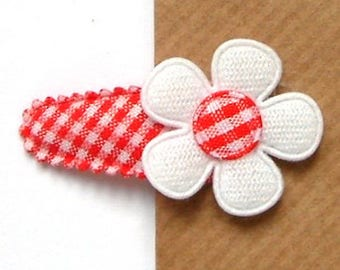 Flower Hair Clip for Baby Girls in Red French Vichy