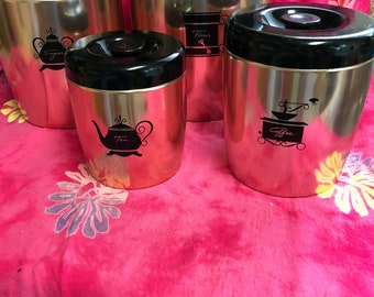 Vintage West Bend  Copper Kitchen Canisters Flour Sugar Tea and Coffee
