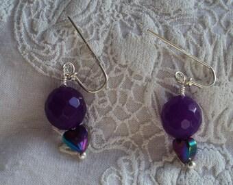 Natural Amethyst drop earrings
