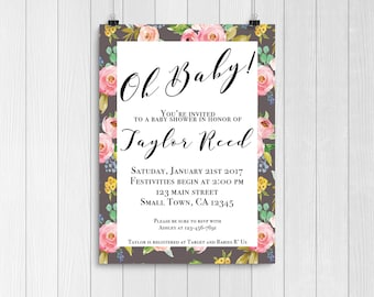 Floral baby shower invitation | baby girl baby shower invitation | Floral shower invitation | baby girl | downloadable invite