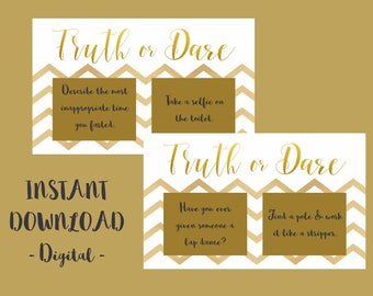 Truth or Dare, Bachelorette, Hens, Party Game, Girls Night PRINTABLE INSTANT DOWNLOAD - White & Gold
