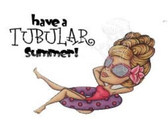 Digital Stamp, Digi stamp, Digi, Digistamp, Summer girl, Pool digi, Summer digi, Tubin Trisha Digi