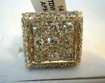 Pave Set 14K Yellow Gold - Total item wt is 8.8 dwt size 8 - stunning- wold european cuts & modern