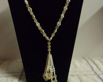 "Necklace White Glass Beads Three 3.00"" Tassels No Closure 15.00"""