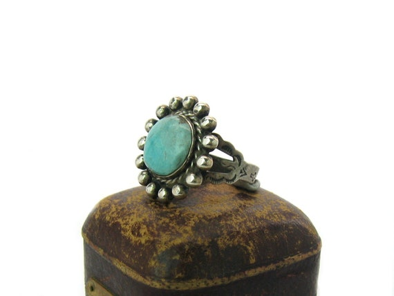 Southwestern Turquoise Sun Ring Sterling Silver Stamped Arrowhead Maisels Indian Trading Post Route 66 Native American Vintage 1950s Jewelry
