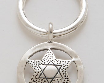 Silver Star of David Keyring made From Vintage American Quarter Coin