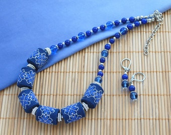Blue embroidered necklace Statement jewelry Sapphire boho necklace gift for women boho jewelry set Blue gift for wife statement gift for mom
