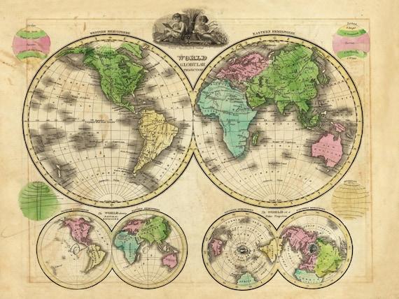 Antique World Map Globular Projection Map World Map Poster - Us Map Globular Projection