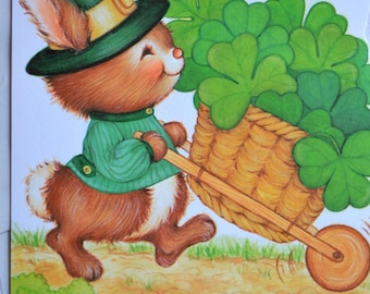 Vintage Greeting Card - St Patrick's Day Bunny and Wheelbarrow of Clover - Unused