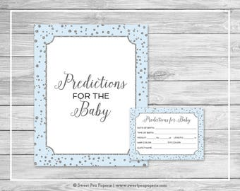 Blue and Silver Baby Shower Predictions for Baby - Printable Baby Shower Predictions for Baby - Blue and Silver Confetti Baby Shower - SP151