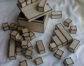 Laser-Cut Wooden Play Blocks Set