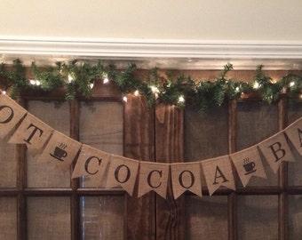 Hot Cocoa Burlap Banner, Hot Cocoa Banner, Hot Cocoa Sign, Christmas Burlap Banner, Christmas Banner, Christmas Sign