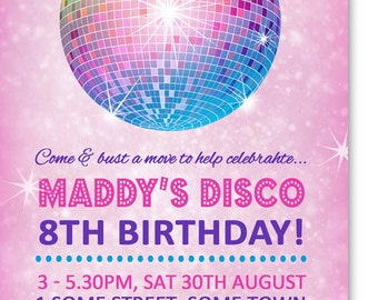 Girl's Disco Party Digital Birthday Invitation Printable