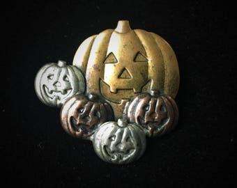 Vintage Metal Alloy Five Jack-O-Lantern Fall Brooch