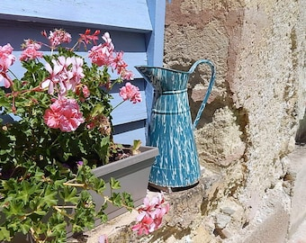 """French Vintage Enamelware Pitcher in """"Marbelized"""" finish"""