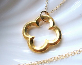 Gold Clover Necklace - LARGE - Stylized Clover