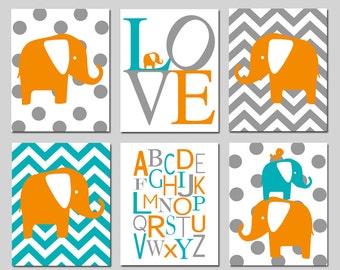 Elephant Nursery Art - Set of Six 8x10 Prints - Polka Dot Elephant, LOVE, Chevron Elephant, Modern Alphabet, Elephant Bird Stack